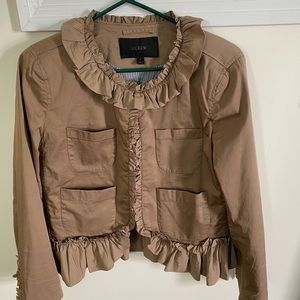 New/ J Crew pleated jacket in Tan/ size 8